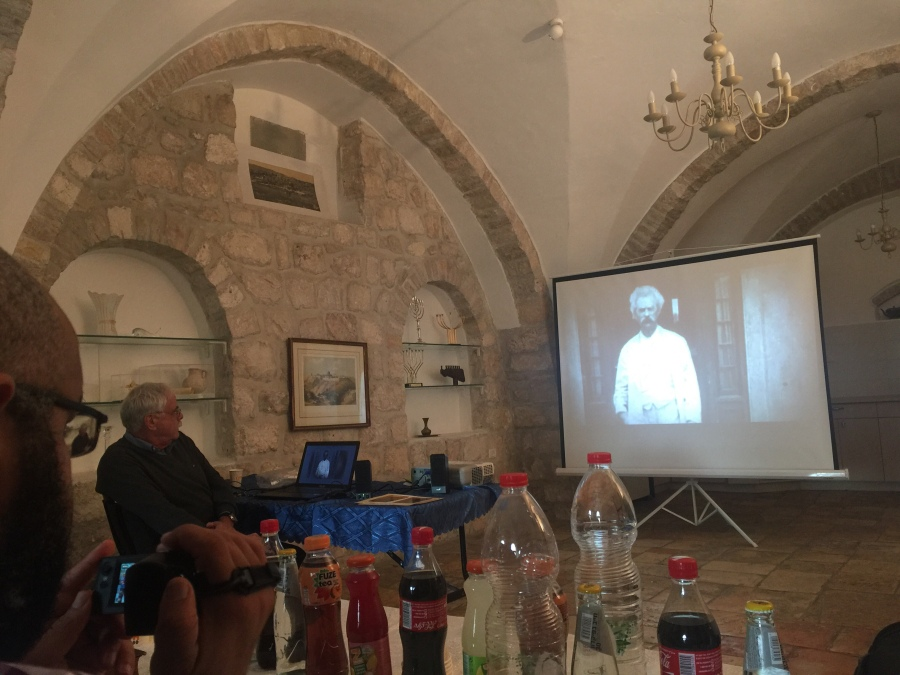 Rebekah Stevens in Israel: Visiting the Mark Twain museum in Israel, at the hotel where Mark Twain stayed over a century ago